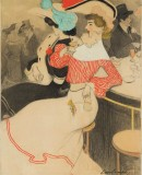 Illustration published in black and white in <em>Le Frou-frou</em> in June 1905, entitled <em>Au bar</em>, 1905. Charcoal, wax, watercolour and gouache on paper